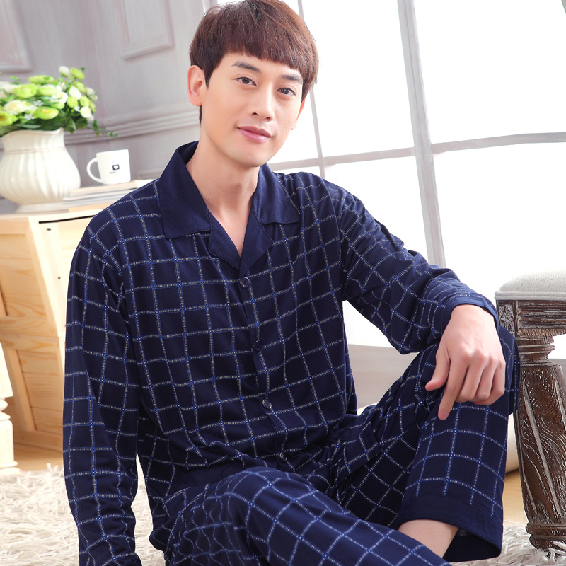 Winter Pajama Set Men Autumn Long Sleeve Sleepwear Cotton Plaid Cardigan Men Lounge Pajama Sets Plus Size Sleepwear Men Pyjama