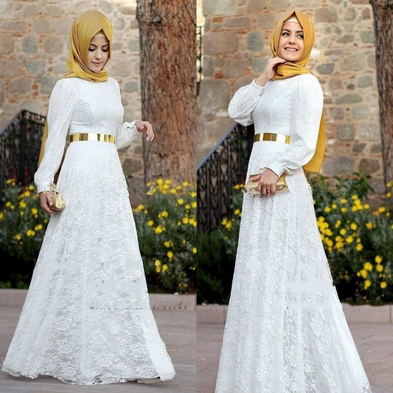 Arab Muslim Wedding Dress Lace Long Sleeve Jewel A Line Bridal Gown ...