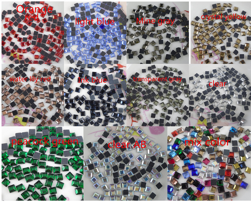 639d52a9d1 4mm hotfix Iron square faceted glass crystal flat back rhinestones ...
