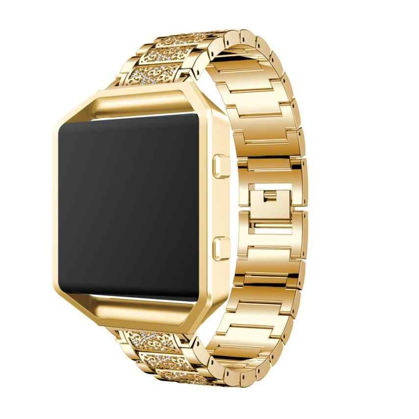 Pengganti Rantai Stainless Steel Band Watch Band + Alat Pengganti Strap dengan Logam Frame untuk Fitbit Blaze