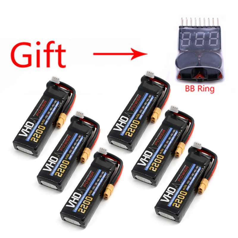 VHO 6PCS  JST RC lipo battery 11.1v 2200mAh 30C 3s To XT60 for RC airplane battery factory-outlet goods of consistent quality