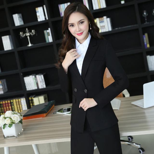 New Professional Projeto do Outono Inverno Feminino Pantsuits Formal Uniforme Para Mulheres Jaquetas E Calças de Negócios Calças Das Senhoras Conjuntos