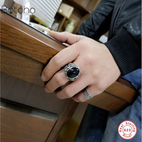New Real 925 Silver Black Onyx stone Ring For Men Female Engraved dragon Men Fashion Sterling Thai Silver Jewelry Synthetic Onyx