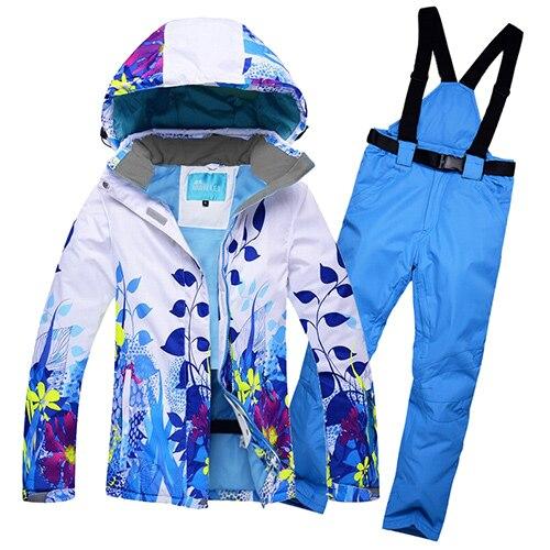 Здесь можно купить  Winter Jackets Women Ski Suit Set Jackets And Pants Outdoor Single Ski Set Windproof Therma Ski Snowboard Printed Sportswear  Спорт и развлечения
