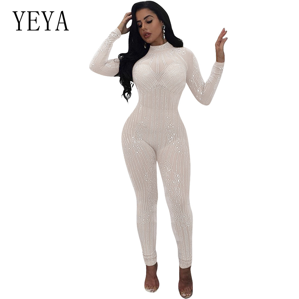f4cf9c2d93 YEYA 2018 New Glitter Women Sexy Mesh See Through Rhinestone Skinny Jumpsuit  Sequins Bodysuit Vintage Christmas Party Jumpsuits