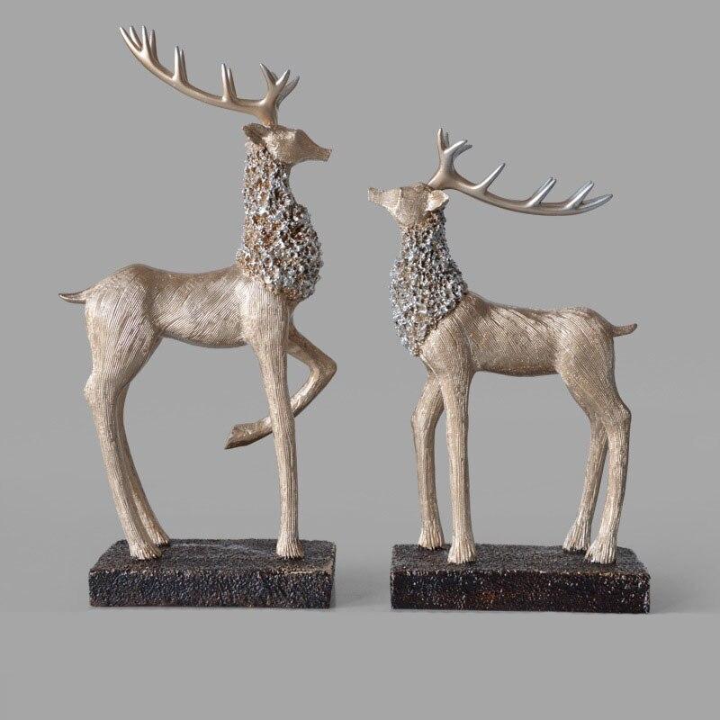Home & Garden Figurines & Miniatures Creative Home Decor Living Room Desktop Decoration Office Decorative Animal Elk Resin Deer Figurine Ornaments Miniatures