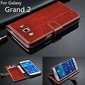 Titular do cartão da tampa do caso para samsung galaxy grand 2 grand2 duos G7100 G7106 G7108 phone case ultra fina carteira de couro tampa articulada