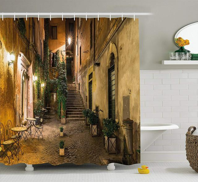 Decoración Italiana Cortina De Ducha Antiguo Patio En Roma Italia Cafetería Sillas Ciudad Ambiente Casas Calle