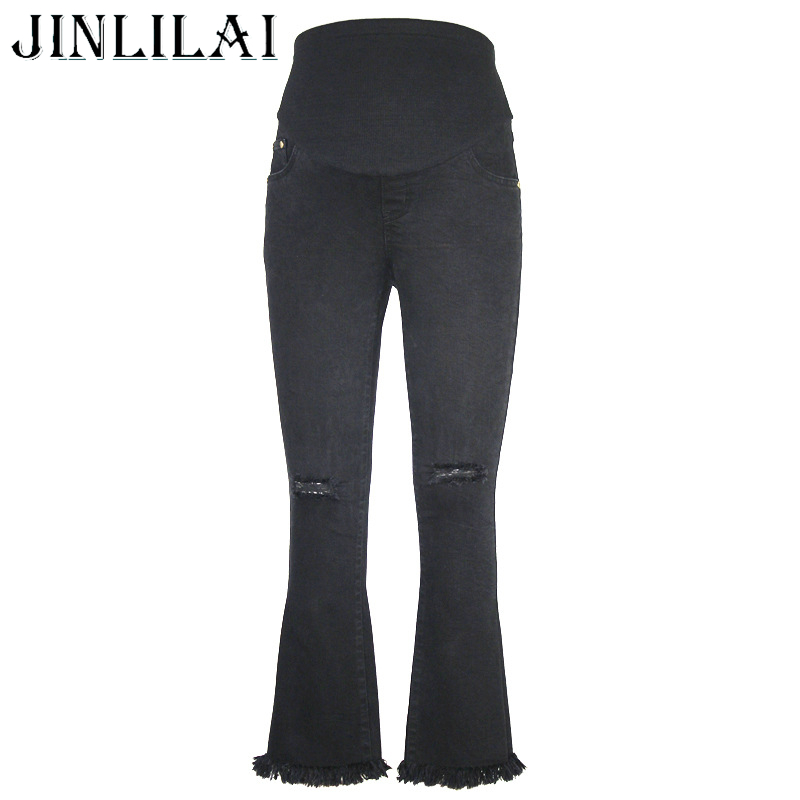 JINLILAI 2017 Brand Maternity Jeans Fashion Elastic Waist Hole Stretch Denim Boot Cut Maternity Pants Clothes for Pregnant Women women jeans large size high waist autumn 2017 blue elastic long skinny slim jeans trousers large size denim pants stretch female