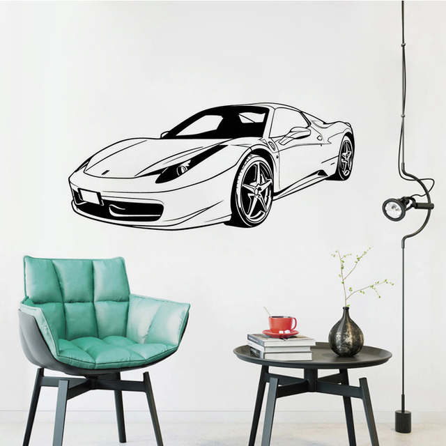 Us 5 44 20 Off Ferrari Front Racing Car Wall Stickers Mural Pvc Decal Transport Bedroom Decor Living Room Decoration Art Poster W020 In