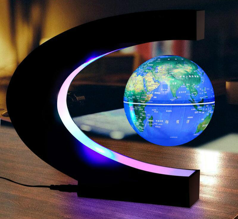 LED Globe World Map Floating Table Night Light Magnetic Levitation Antigravity Magic Des ...