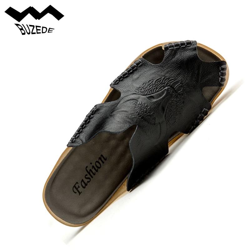Drop Shipping Cuir Véritable de Haute Qualité Hommes Pantoufles Plage Chaussures D'été Flip Flops Casual Chaussures Hommes Mode Plage Sandales