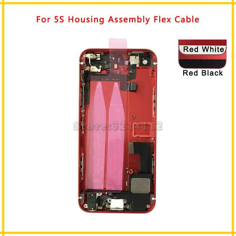 High Quality Back Middle Frame Chassis Full Housing Assembly Battery Cover Door Rear with Flex Cable For iphone 5 5G 5S