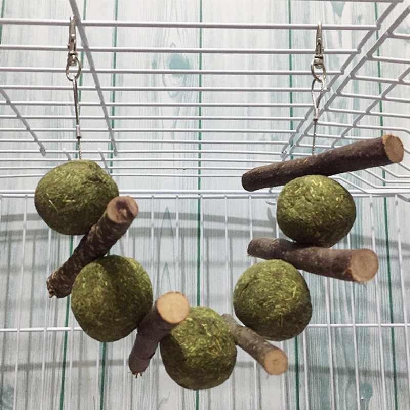 Hamster interativo Grama Coelho Coelho Cobaias Brinquedos Do Papagaio de Estimação Mastigar Brinquedo Hamster Bola de Limpeza Dos Dentes Corda Pendurada