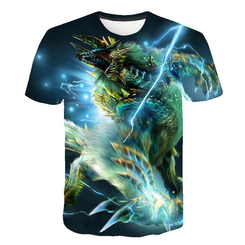 Summer 2019 short sleeve o collar monster hunter game T-shirt 3D digital 3D printing loose slim T-shirt men's shirt T-shirt(China)