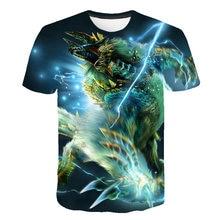 Summer 2019 short sleeve o collar monster hunter game T-shirt 3D digital printing loose slim mens shirt