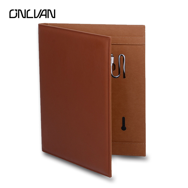 ONLVAN New Design Portfolio with Portable Source Manager Folder Removable Power Multifunction Padfolio Customized Carpetas onlvan manager folder 6000mah portfolio pu leather padfolio document covers office supply business accessories accept customized