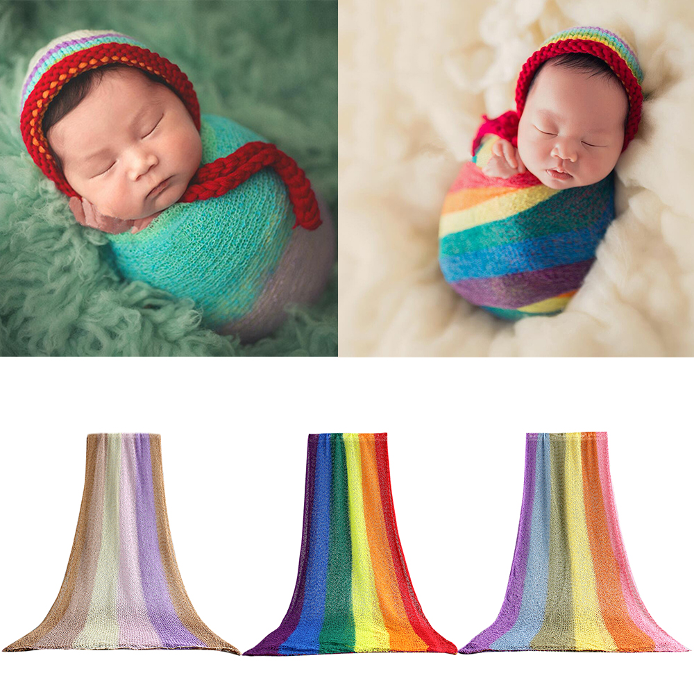 Baby Bedding 150cm Stretch Cotton Wrap Newborn Photography Props Baby Toddler Kids Rainbow Wrapped Cloth Hammock Swaddlings Women Shawl Aggressive 40