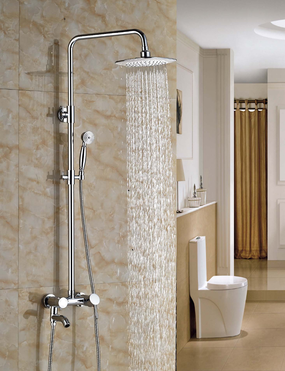 Wholesale And Retail Chrome Rainfall Shower Head Single Holder Dual Control Wall Mounted Shower Faucet Tub Spout W/ Hand Shower wholesale and retail promotion deck mounted chrome brass waterfall spout bathroom tub faucet w hand shower