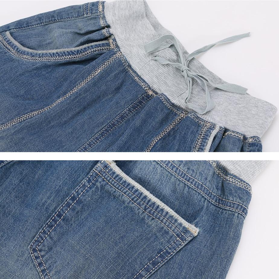 yuemei стиль 2016 лето шаровары джинсы женщина брюки плюс размер капри джинсы