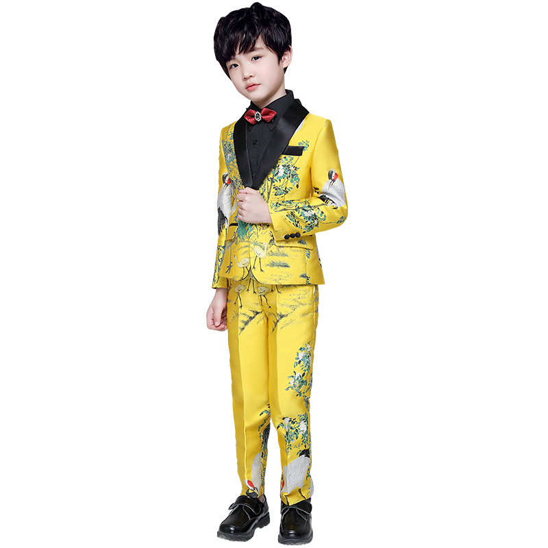 Boys suit vest three-piece summer new childrens dress flower girl Chinese style show catwalk birthday party dress setBoys suit vest three-piece summer new childrens dress flower girl Chinese style show catwalk birthday party dress set