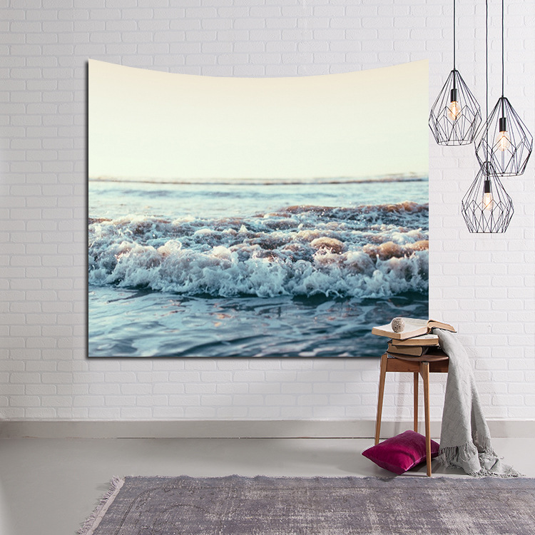 New Ocean Scenic Scenic Tapestry Colored Sea Printed Yoga Mat Decorative Mandala Home Decorative Wall Tapestry Hanging Cover
