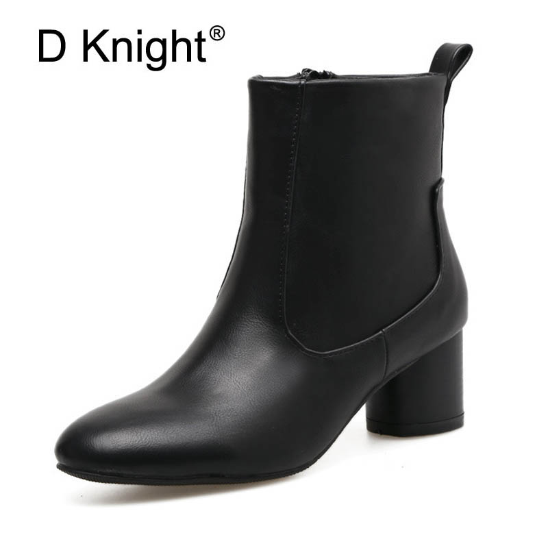 New Women High Heels Ankle Boots Black Gray Botas 2017  Spring Autumn Chelsea Boots Women Fashion High Thick Heel Shoes With Zip 2016 tight high over knee high long lady patent leather transparent thick heels woman spring autumn zip botas black shoes j100