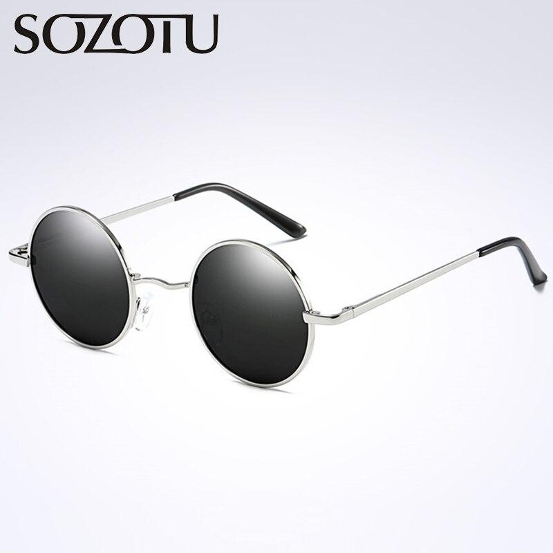 5bded16252e91 Rodada do vintage Óculos Polarizados Óculos de Sol Das Mulheres Dos Homens  Clássico Círculo de Óculos