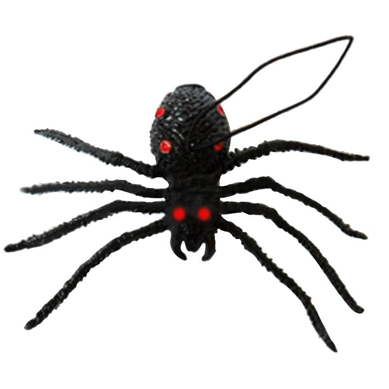 1Pcs Halloween Novel Black Silicone Simulation Spider Shaped Rubber Spider Toys For Chirldren
