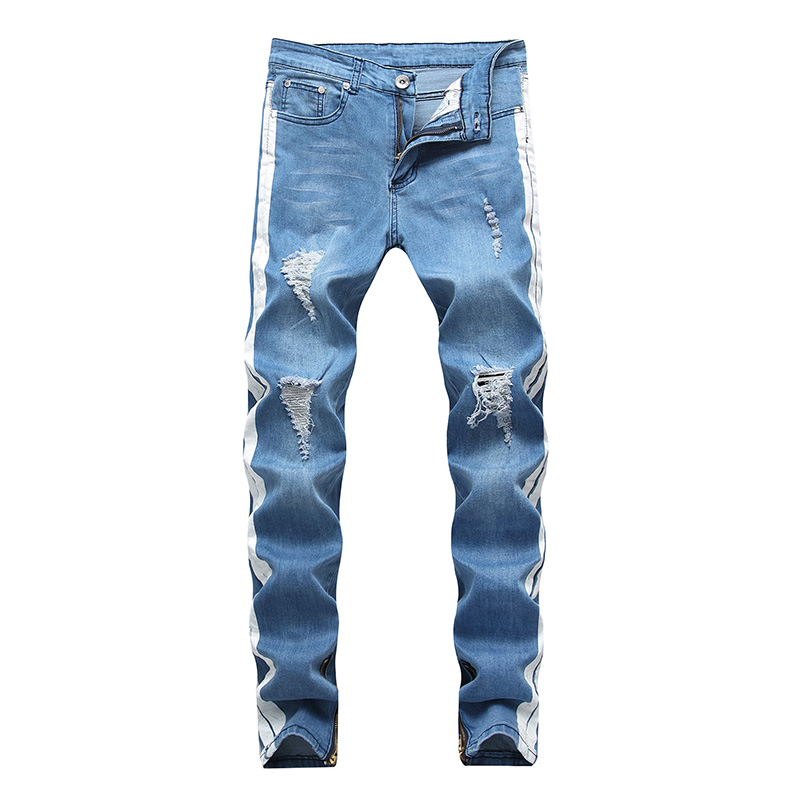 Mcikkny Fashion Jeans Men Casual Slim Fit Skinny Jeans Pants Blue Ripped Men Side Stripe Design Denim Pants With Zipper