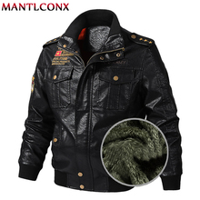 MANTLCONX 2019 Winter New Motorcycle Biker Bomber Leather Jacket Men Stand Collar PU Thick Coats M-6XL