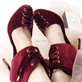 Women Shoes Lace Up Summer Style Thin Heels Boots Wine Red Stiletto Wedding Dress Shoes High Heels Valentine Shoes Woman Pumps