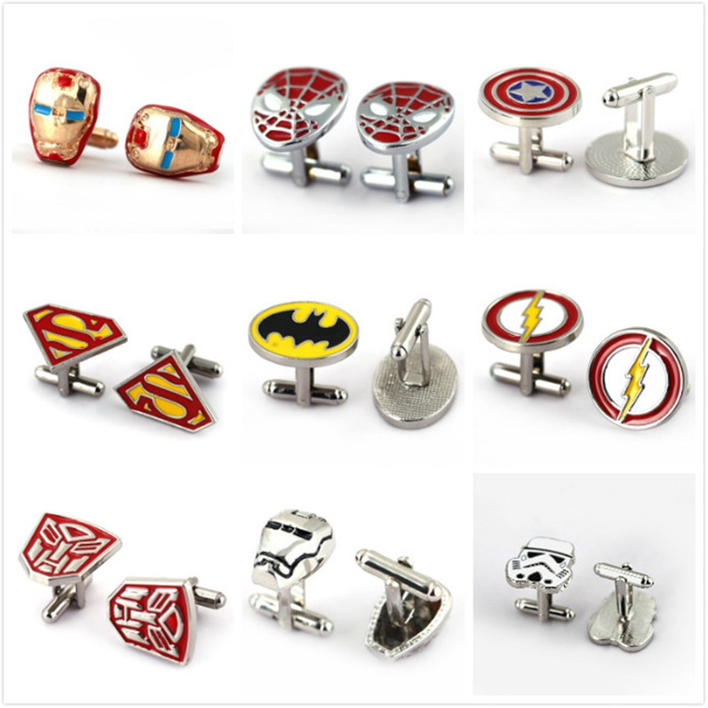 HSIC JEWELRY Metal Alloy Superhero Cuff Link Superman Spider-Man Iron Man Captain America Cuff Buttons size 2cm*2cm(China)