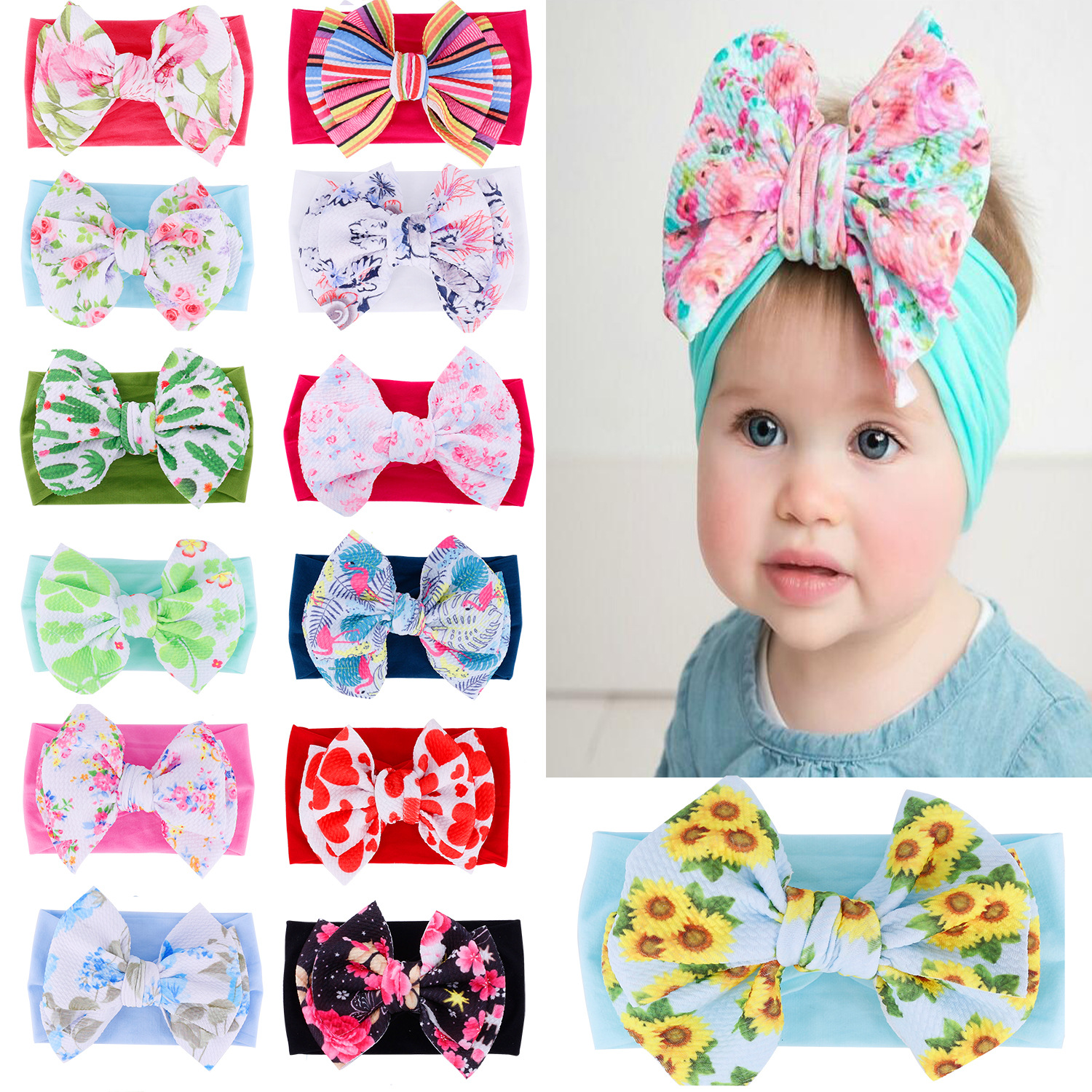 Infant Newborn Baby Headband Big Bowknot Printed Top Knotted Soft Headwrap Cute