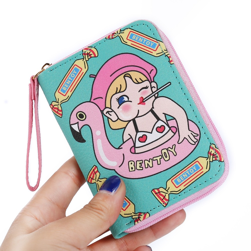 Bentoy Creative Cartoon Women Leather Wallet Girls Cute Coin Purses Short Zipper Mini Wallets Credit Card Holder For Girls new design hasp wallets cute pokemon go wallet pocket monster purses pikachu wallets cartoon children best present wallets