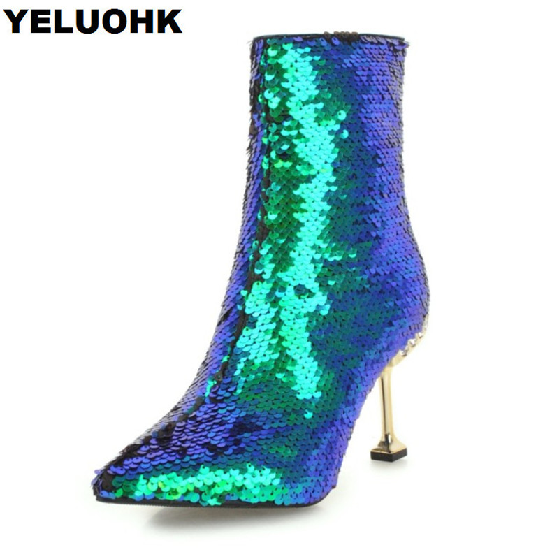 все цены на New Glitter Ankle Boots Women Shoes Fashion Pointed Toe Short Women High Boots Sexy High Heels Autumn Shoes Pumps Stiletto Heel онлайн
