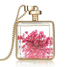 2017 Pink Dried Flower Necklaces Jewelry Square Glass Pendant Necklace Fashion Long Golden Chain Statement Necklace for Women