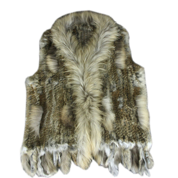 New Real ladies Genuine Knitted Rabbit Fur Vest With Raccoon Fur Trimming Waistcoat Winter Fur Jacket harppihop fur
