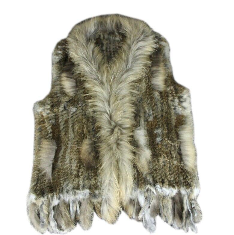 Nouveau réel dames véritable tricoté fourrure de lapin gilet avec découpe de la fourrure de raton laveur gilet d'hiver fourrure veste harppihop fourrure