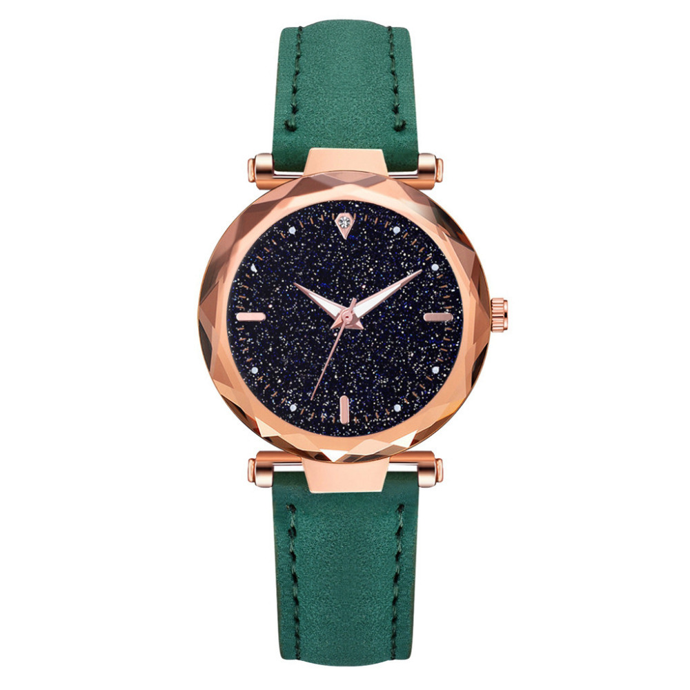 2019 Luxury Fashion Ladies Rhombus Glass Diamond Women's Watch Starry Sky Leather Belt Luminous Ladies Watches For Women