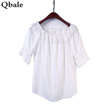 Qbale White t shirt Women tshirts cotton 2017 Summer tops Mori girl Embroidery Lace Hem Ruffle off the shoulder tops for women