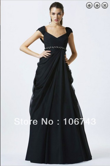 free shipping elegant maxi 2016 for party new fashion vestidos formales long black Floor-Length Chiffon Beading   evening     dress