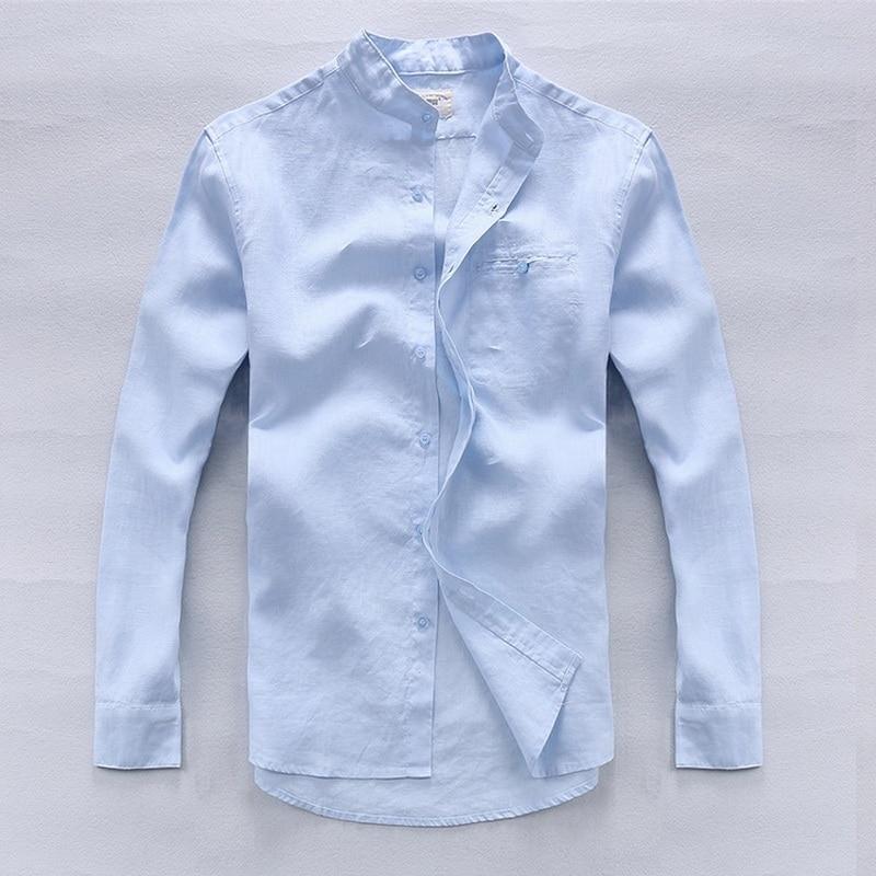 100% Lino Camisas azules de gama alta simples Hombres Lino de manga - Ropa de hombre - foto 1