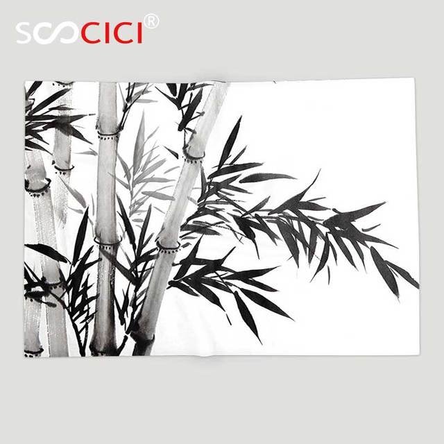 Custom Soft Fleece Throw Blanket Bamboo Decor Bamboo Tree