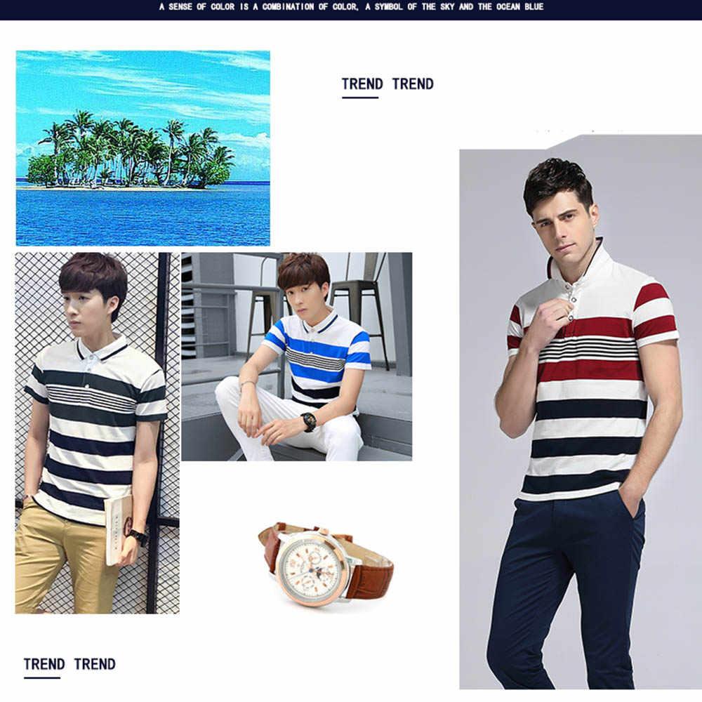 2019 новый летний Для Мужчин's Повседневная рубашка-поло слим Для мужчин s короткий рукав рубашки Для мужчин, брендовая одежда в полоску для маленьких мальчиков, футболки-поло и 4XL B0336