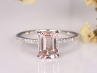 Pink Morganite Engagement Ring 7x9mm Emerald Cut Stone 14K White Gold Diamond Band Bridal Wedding Ring