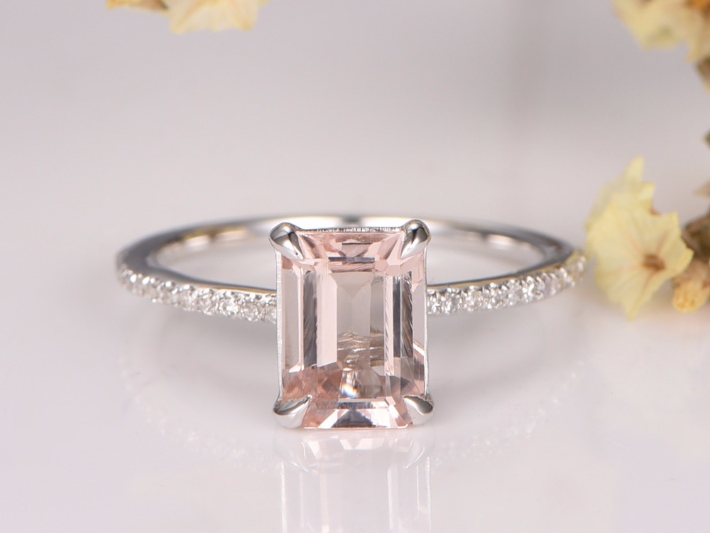Myray Pink Morganite Engagement Ring 7x9mm Emerald Cut