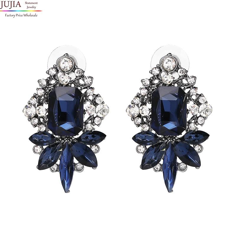 5色JUJIA卸売良質クリスタルイヤリングファッション女性声明スタッドイヤリング女性ファッションイヤリング