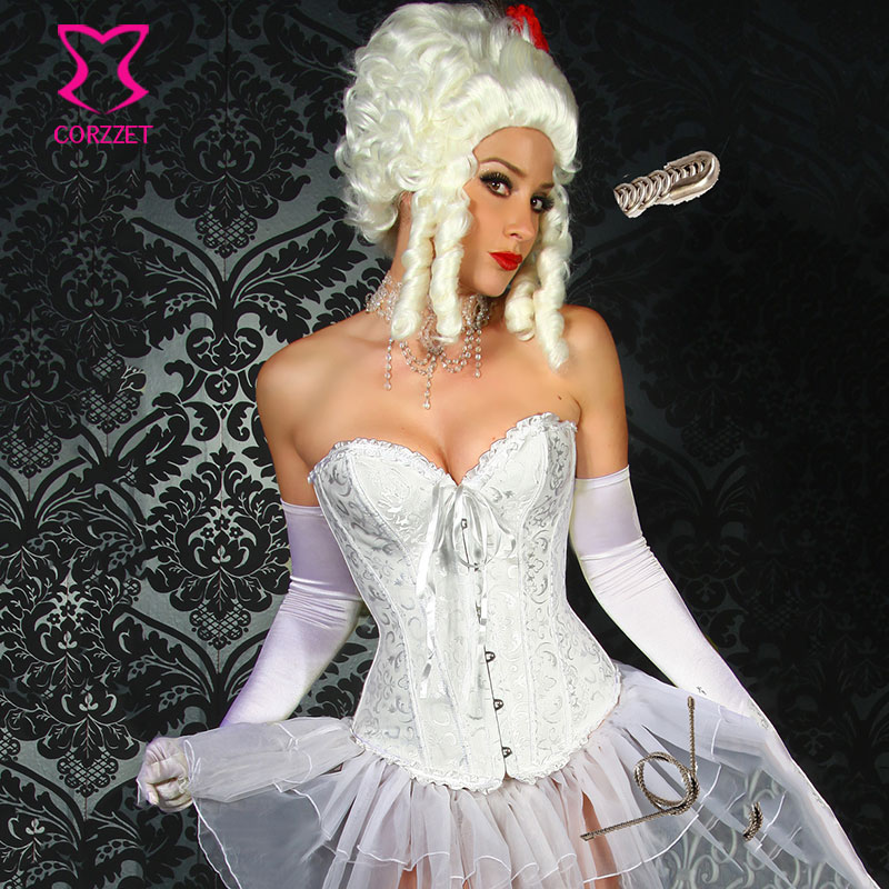 Gothic Lingerie Woman Jacquard Pleated Trim Sexy   Bustier   White   Corset   Wedding Corsage Steel Boned Overbust Waist   Corsets   Stories