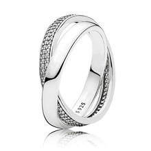Real 925 Sterling Silver Ring Love Forever Promise Ring Women Wedding Engagement Ring Lady Fine Original Pans Jewelry Gift недорого